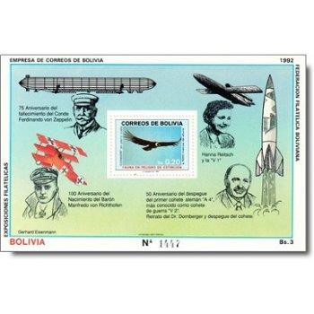 75. Todestag von Graf Zeppelin - Briefmarkenblock postfirsch, Katalog-Nr. 1053 Bl. 199, Bolivien