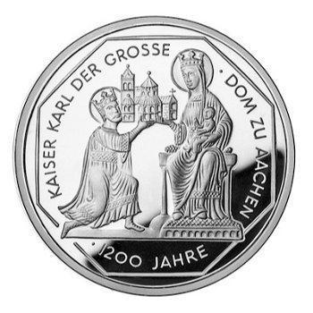 "10-DM-Silbermünze ""Kaiser Karl der Große"", Polierte Platte"
