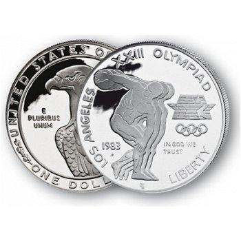Olympiade/Leichtathletik, Diskus - Silberdollar 1983, 1 Dollar Silbermünze, USA