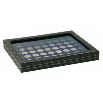Nera Münzkassette M mit Sichtfenster für 2 Euro Münzen, Münzeinlage blau, Lindner 2367-2154ME