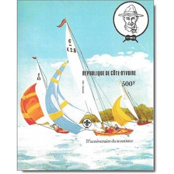 75 Jahre Pfadfinder - Briefmarken-Block ungezähnt postfrisch, Katalog-Nr. 732 Bl. 22 B, Elfenbeinküs