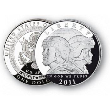 U.S. Army - Silberdollar 2011, 1 Dollar Silbermünze, USA