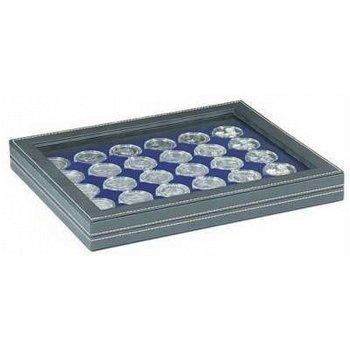 Nera Münzkassette M mit Sichtfenster für 20 Euro Münzen in Spiegelglanz, Münzeinlage blau, Lindner 2