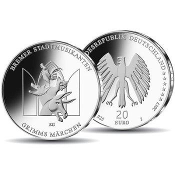 Grimms Märchen: Bremer Stadtmusikanten - 20 Euro Silbermünze 2017 Polierte Platte