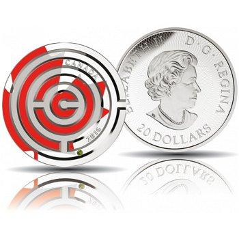 Maple Leaf - Labyrinth, 20 Dollar Silbermünze 2016 mit Farbapplikation, polierte Platte, Canada