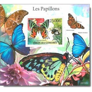 """Schmetterling """"Madagaskar-Sonnenuntergangs-Motte"""" - Briefmarken-Block postfrisch, Komoren"""