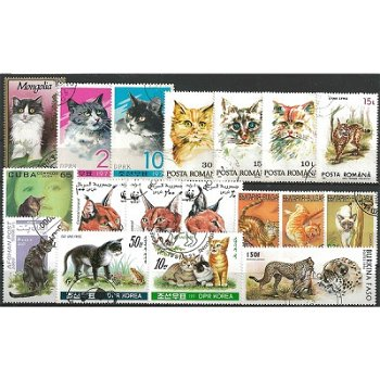 Cats - 100 different stamps