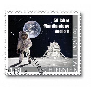 50 J. Mondlandung - Briefmarke mit der Mondlandefähre Eagle aus Titan, gestempelt, Liechtenstein