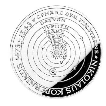 """5-DM-Silbermünze """"500. Geburtstag Nikolaus Kopernikus"""", Stempelglanz"""