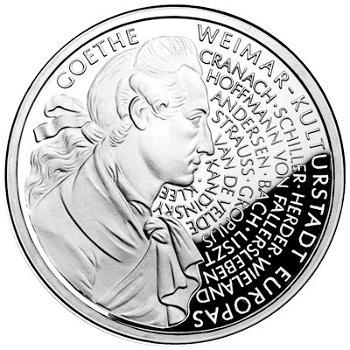 """10-DM-Silbermünze """"250. Geburtstag Goethes"""", Polierte Platte"""