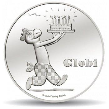 80. Geburtstag von GLOBI, 20 Franken Silbermünze 2012 Schweiz, Stempelglanz
