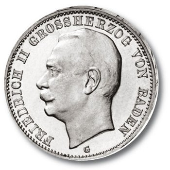 3 Mark Silbermünze, Großherzog Friedrich II., Katalog-Nr. 39, Großherzogtum Baden