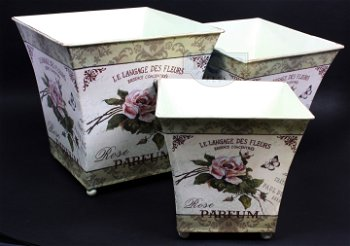 Übertöpfe aus Blech mit romantischem Rosendekor - 3er Set