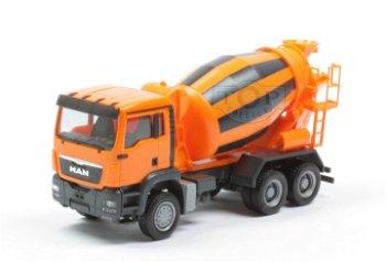 Modell-LKW:MAN TGS M Betonmischer, orange-schwarz(Herpa, 1:87)