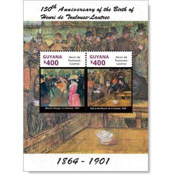 150. Geburtstag Henri de Toulouse-Lautrec - Briefmarkenblock postfrisch, Guyana