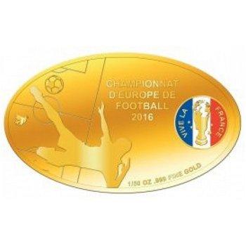 Fußball EM in Frankreich, Goldmünze mit Farbauflage, Elfenbeinküste