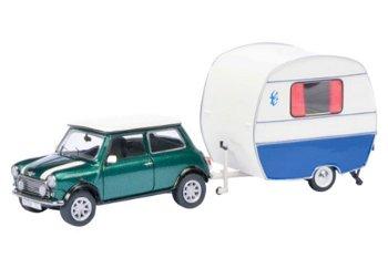 Modellauto:Mini Cooper mit Wohnwagen- Knaus Schwalbennest -(Schuco, 1:43)