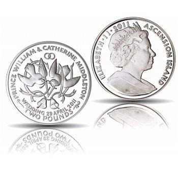Hochzeitstauben: Königliche Hochzeit William und Kate - 2 Pfund Silbermünze, Ascension