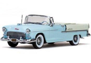 Modellauto:Chevrolet Bel Air Cabriolet von 1955, hellblau/weiß(Vitesse, 1:43)