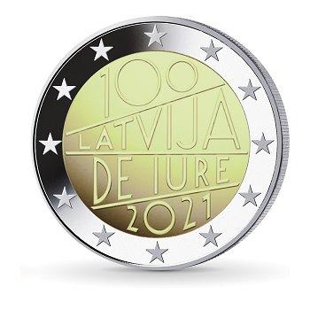 100 Jahre Internationale Anerkennung Lettlands - 2 Euro Münze 2021, Lettland