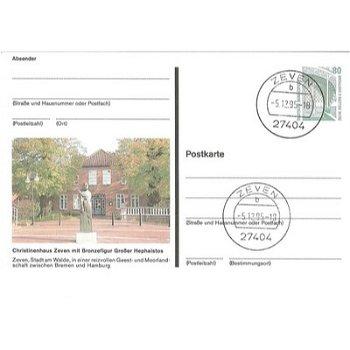 """2730 Zeven - Bildpostkarte """"Christinenhaus Zeven mit Bronzefigur"""""""