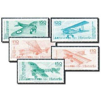 Historische Flugzeuge - 5 Briefmarken postfrisch, Chile