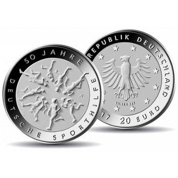 50 Jahre Deutsche Sporthilfe, 20 Euro Silbermünze 2017, Stempelglanz, Deutschland