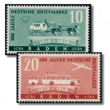 100 Jahre Deutsche Briefmarke - 2 Briefmarken postfrisch, Katalog-Nr. 54-55, Französische Zone Baden