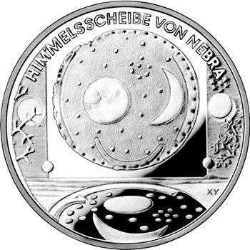 Himmelsscheibe von Nebra, 10-Euro-Silbermünze 2008, Polierte Platte
