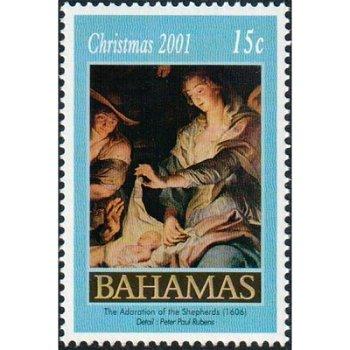 Weihnachten 2001/ Anbetung der Hirten - Briefmarke postfrisch, Katalog-Nr. 1096, Bahamas