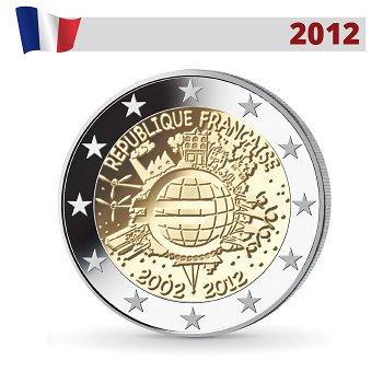 10 Jahre Euro - Gemeinschaftsausgabe, 2 Euro Münze 2012, Frankreich