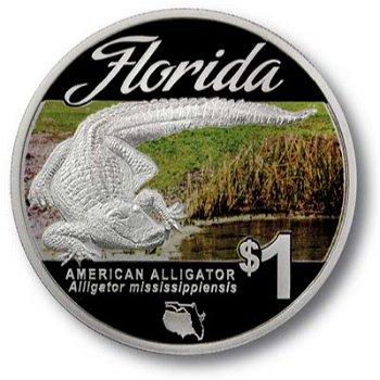 Amerikanischer Alligator - Silbermünze mit Farbauflage, Tuvalu