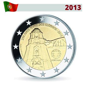 2 Euro Münze 2013, Turm von Clérigos, Portugal