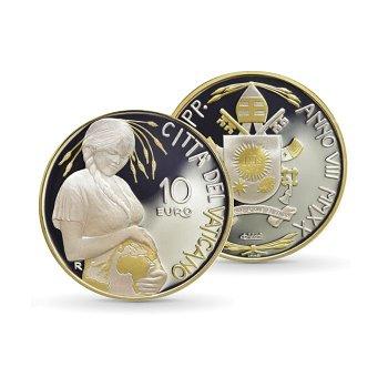 Welttag der Erde - 10 Euro Silbermünze mit Goldauflage 2020, Polierte Platte, Vatikan