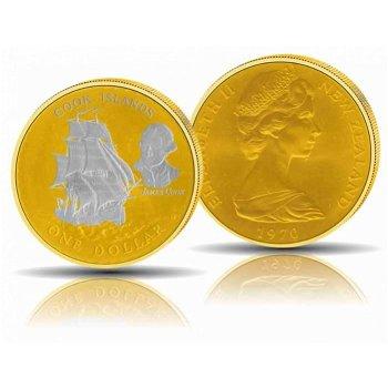 Kapitän Cook und die Endeavour, 1 Dollar vergoldet, Cook Inseln