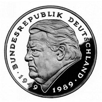 """2-DM-Münzen """"Franz Josef Strauß - 40 Jahre Bundesrepublik"""" - Jahrgang 1990, alle vier Präg"""