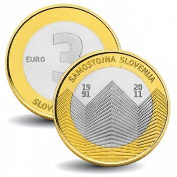 20 Jahre Unabhängigkeit - 3 Euro Münze 2011, Slowenien