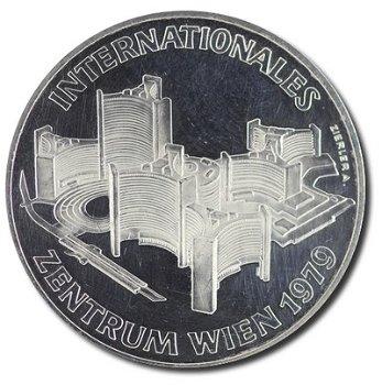 """100-Schilling-Münze """"Eröffnung des Internationalen Zentrums Wien"""", Österreich"""