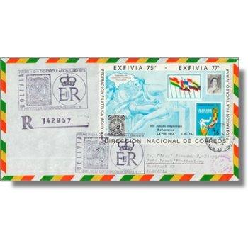 25 Jahre Krönung Königin Elisabeth, Briefmarkenausstellung Honduras '78 - Block 74 auf echtgelaufene