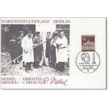 40 Jahre Raketenflugplatz Berlin - Erinnerungskarte mit Unterschrift Rudolf Nebel, Deutschland