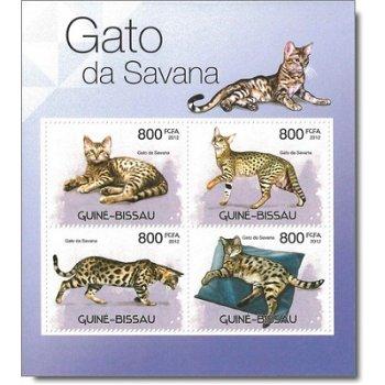 Savannah-Katze - Briefmarken-Block postfrisch, Guinea-Bissau