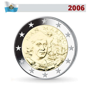 2 Euro Münze 2006, Christoph Kolumbus, San Marino