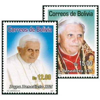 Porträts von Papst Benedikt XVI. - 2 Briefmarken postfrisch, Bolivien