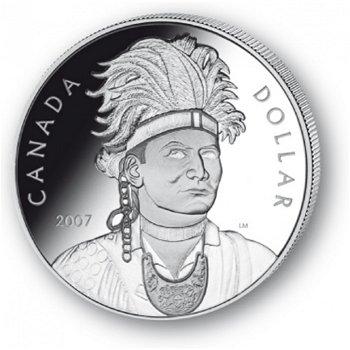 Thayendanegea/Joseph Brant - Silberdollar 2007, 1 Dollar Silbermünze, Canada