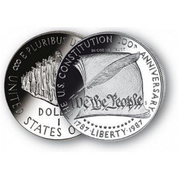 200 Jahre Verfassung - Silberdollar 1987, 1 Dollar Silbermünze, USA