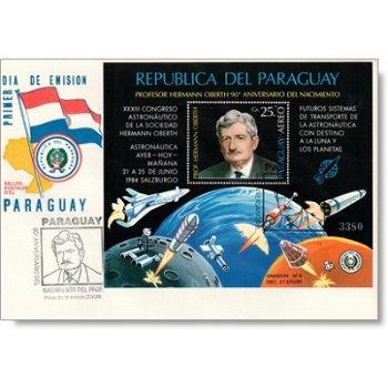 90. Geburtstag Hermann Oberth - Block auf FDC, Katalog-Nr. 3789 Bl. 405, Paraguay