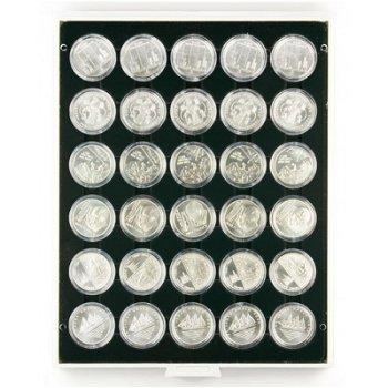LINDNER Münzbox für 10 und 20 Euro Silbermünzen verkapselt, grau, Einlage schwarz, LI 2226C