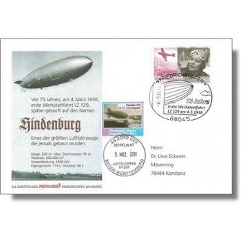 Zeppelin NT, 75 Jahre 1. Werkstattfahrt LZ 129 - Beleg, Deutschland