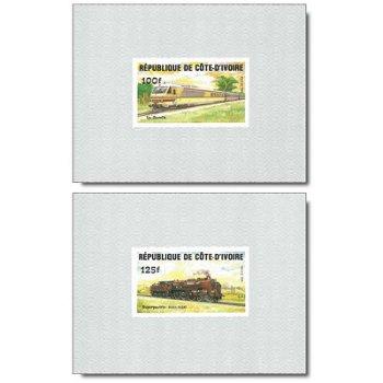 Lokomotiven - 4 Luxusblocks postfrisch, Katalog-Nr. 826B-829B, Elfenbeinküste