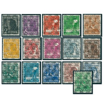Control board series with post squirrel overprint - 16 stamps mint never hinged, Germany